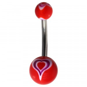 Piercing Nombril Fantaisie Acrylique Coeur Milk Violet & Blanc / Rouge