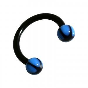 Piercing Tragus / Labret / Lèvre Bioplast Etoile Noir / Bleu