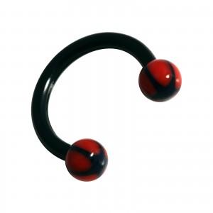 Piercing Tragus / Labio / Labret Bioplast Estrella Negro / Rojo