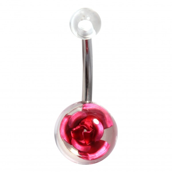 3d Metal Rose Transpartent Acrylic Fancy Belly Bar Navel Button Ring Rare