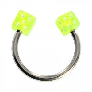 Fer Cheval Piercing Cartilage Acrylique Deux Dés Verts