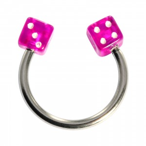 Acrylic Circular Cartilage Ring Barbell with Two Purple Dices