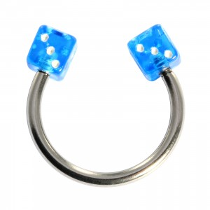 Fer Cheval Piercing Cartilage Acrylique Deux Dés Bleus Foncé