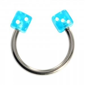 Acrylic Circular Cartilage Ring Barbell with Two Turquoise Dices