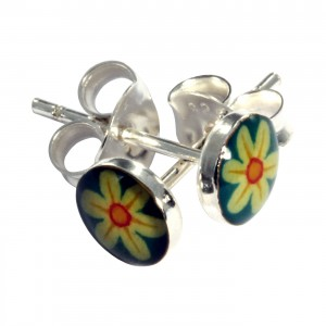 Yellow/Blue Flower Logo 925 Silver Earrings Ear Pair Studs