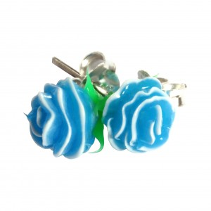 Boucles d'Oreilles Argent Massif 925 Silicone Biocompatible Rose Bleue