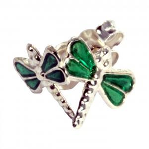Dark Green Casting Dragonfly 925 Sterling Silver Earrings Ear Pair Studs