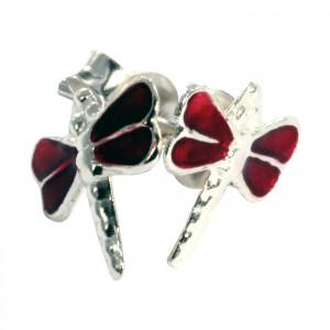 Boucles d'Oreille Argent Massif 925 Libellule Moulée Rouge