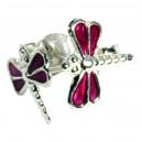 Boucles d'Oreilles Argent Massif 925 Libellule Moulée Violet