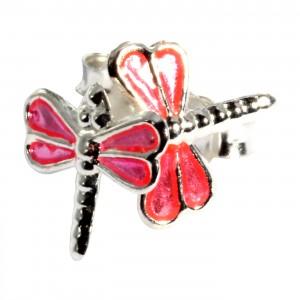 Ohrringe 925 Sterlingsilber Libelle Gegossen Rosa