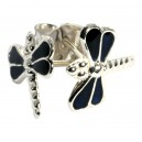 Black Casting Dragonfly 925 Sterling Silver Earrings Ear Pair Studs
