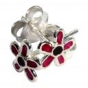 Boucles d'Oreille Argent Massif 925 Fleur Moulée Rose Foncé / Noir