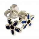 Boucles d'Oreilles Argent Massif 925 Fleur Moulée Bleu Foncé / Noir