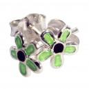 Boucles d'Oreilles Argent Massif 925 Fleur Moulée Vert Clair / Noir