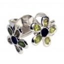 Boucles d'Oreilles Argent Massif 925 Fleur Moulée Vert Olive / Noir