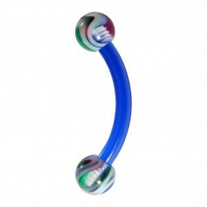 Red/Green/Blue Vortex Bioflex/Bioplast Eyebrow Curved Bar Ring with Blue Bar
