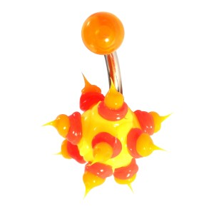 Yellow/Red/Orange Chantilly Spikes Biocompatible Silicone Belly Bar Navel Button Ring