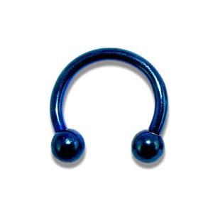 Piercing pas cher Fer à Cheval Anodisé Bleu Boules