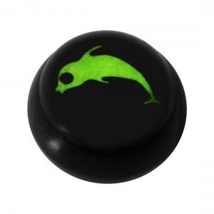 Kugel für Piercing Zunge / Bauchnabel Acryl Schwarz Logo UV Delphin