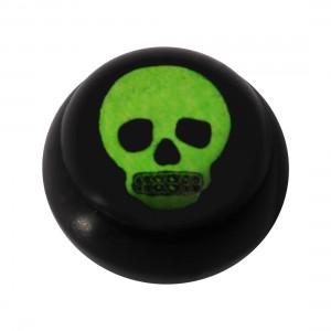 Boule pour Piercing Langue / Nombril Acrylique Noire Logo UV Gros Crâne