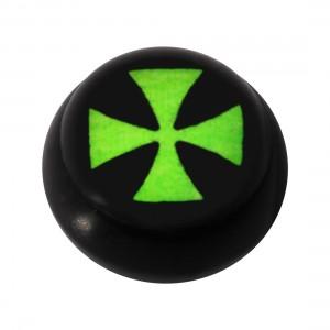 Boule pour Piercing Langue / Nombril Acrylique Noire Logo UV Templier