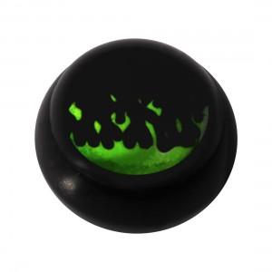 Bola para Piercing Lengua / Ombligo Acrílico Negro Logo UV Fuego