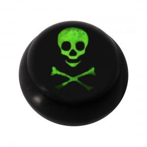 Kugel für Piercing Zunge / Bauchnabel Acryl Schwarz Logo UV Schädel Knochen