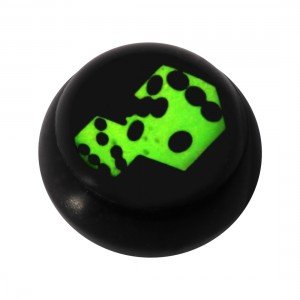 Boule pour Piercing Langue / Nombril Acrylique Noire Logo UV Deux Dés