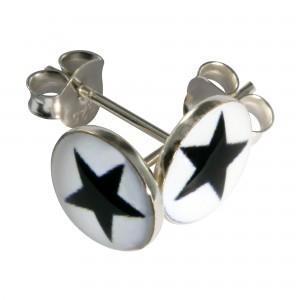 Boucles d'Oreilles Argent Massif 925 Logo Etoile Noir / Blanc