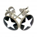 White/Black Star Logo 925 Sterling Silver Earrings Ear Pair Studs