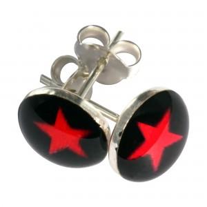 Boucles d'Oreilles Argent Massif 925 Logo Etoile Rouge / Noir