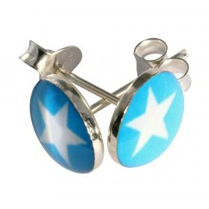 Boucles d'Oreilles Argent Massif 925 Logo Etoile Blanc / Bleu