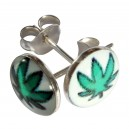 Green/White Cannabis Logo 925 Sterling Silver Earrings Ear Pair Studs