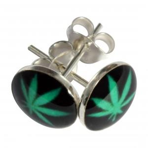 Boucles d'Oreilles Argent Massif 925 Logo Cannabis Vert / Noir