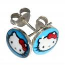 Boucles d'Oreilles Argent Massif 925 Logo Hello Kitty Blanc / Bleu