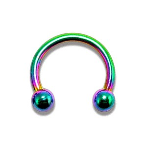 Piercing Hufeisen Eloxiert Mehrfarbig Kugeln