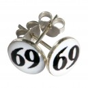 Black/White 69 Logo 925 Sterling Silver Earrings Ear Pair Studs