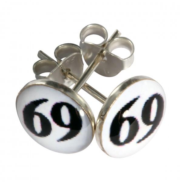 92ae00807 Boucles d'Oreilles Argent Massif 925 Logo 69 Noir / Blanc