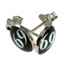 Boucles d'Oreilles Argent Massif 925 Logo 69 Blanc / Noir