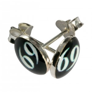 White/Black 69 Logo 925 Sterling Silver Earrings Ear Pair Studs