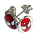 Boucles d'Oreilles Argent Massif 925 Logo Spiderman Rouge / Blanc