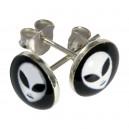 White/Black Alien Logo 925 Sterling Silver Earrings Ear Pair Studs