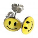 Boucles d'Oreilles Argent Massif 925 Logo Smiley Jaune