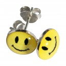 Yellow Smiley Logo 925 Sterling Silver Earrings Ear Pair Studs