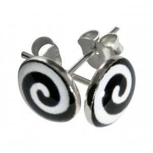 Boucles d'Oreilles Argent Massif 925 Logo Spirale Noir & Blanc