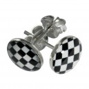 Black/White Checkerboard Logo 925 Sterling Silver Earrings Ear Pair Studs