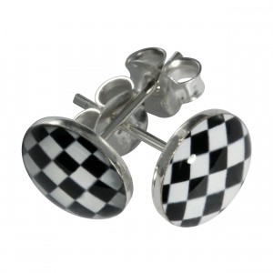 Boucles d'Oreilles Argent Massif 925 Logo Damier Noir & Blanc