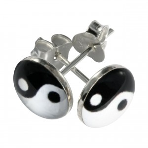 Black/White Yin-Yang Logo 925 Sterling Silver Earrings Ear Pair Studs