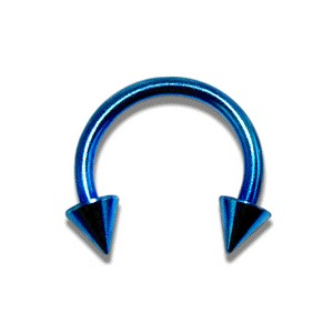 Blue Anodized Circular Barbell w/ Spikes