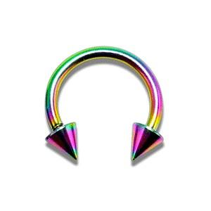 Rainbow Anodized Circular Barbell w/ Spikes